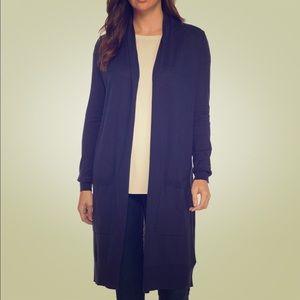 Long blue cardigan